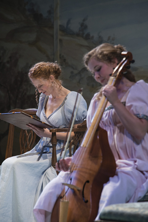 "Karl Hugh | Utah Shakespeare Festival 2014  Cassandra Bissell (left) as Elinor Dashwood and Eva Balistrieri as Marianne Dashwood in the Utah Shakespeare Festival's 2014 production of ""Sense and Sensibility."""