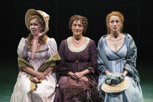 "Karl Hugh | Utah Shakespeare Festival 2014  Eva Balistrieri (left) as Marianne Dashwood, Maryann Towne as Mrs. Henry Dashwood, and Cassandra Bissell as Elinor Dashwood in the Utah Shakespeare Festival's 2014 production of ""Sense and Sensibility."""