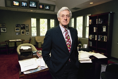 FILE - This April 20, 1994 file photo shows longtime newspaper executive John Seigenthaler in his office at the Freedom Forum First Amendment center which he founded in Nashville, Tenn. Seigenthaler, the journalist who edited The Tennessean newspaper, helped shape USA Today and worked for civil rights during the Kennedy administration, died Friday, July 11, 2014. He was 86. (AP Photo/Mark Humphrey, File)