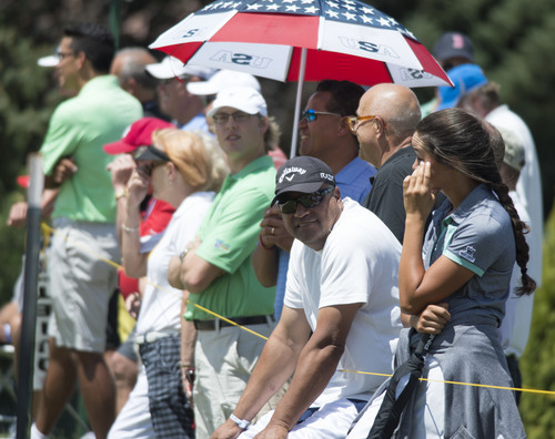 Steve Griffin  |  The Salt Lake Tribune   Family, friends and fans follow Lehi resident Tony Finau as he plays during first round play in the Web.Com golf tour event at Willow Creek Country Club  in Sandy, Utah Thursday, July 10, 2014.