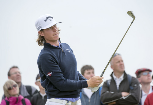 Sweden's Kristoffer Broberg plays a shot off the 6th tee during day three of the Scottish Open at Royal Aberdeen, Aberdeen, Scotland, Saturday July 12, 2014. (AP Photo/PA, Kenny Smith) UNITED KINGDOM OUT  NO SALES  NO ARCHIVE