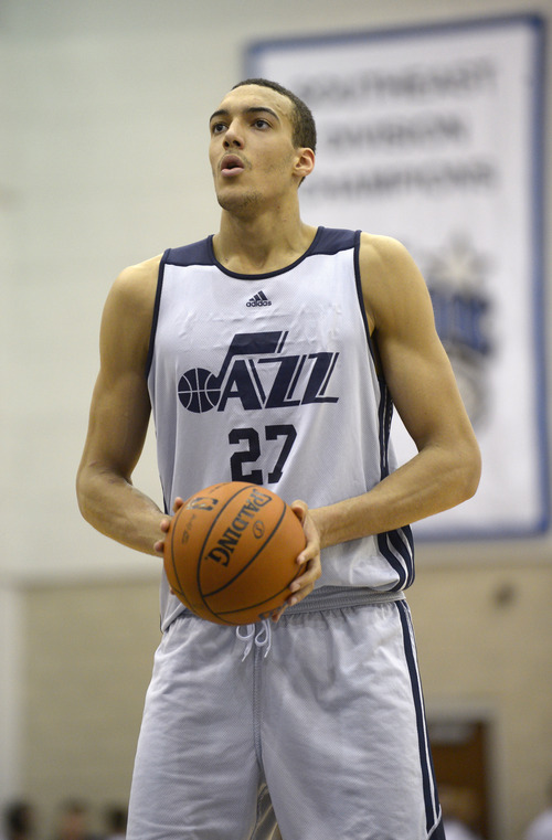 Utah Jazz center Rudy Gobert (27) sets up for a foul shot during the second half of an NBA Orlando Pro Summer League game against the Miami Heat in Orlando, Fla., Sunday, July 7, 2013. (Special to the Tribune/Phelan M. Ebenhack)