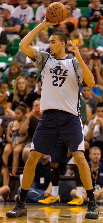 Trent Nelson     The Salt Lake Tribune Rudy Gobert as the Utah Jazz hold an open practice in Salt Lake City, Thursday July 10, 2014.