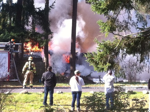 (Courtesy photo) Josh Powell's house burns to the ground after an explosion killed him and his two sons.