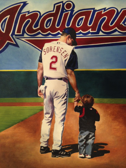 | Courtesy Photo  A painting of former pro baseball player Zach Sorensen with his young son Jaxon. The painting was done useing a photo taken in Cleveland in 2003.
