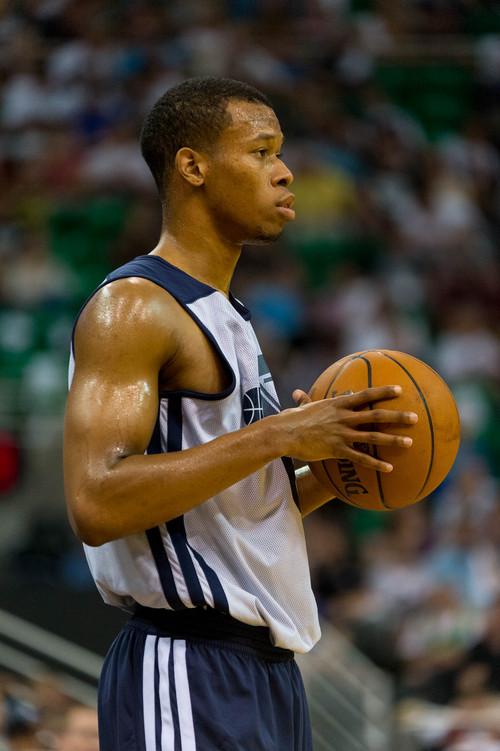 Trent Nelson  |  The Salt Lake Tribune Rodney Hood as the Utah Jazz hold an open practice in Salt Lake City, Thursday July 10, 2014.