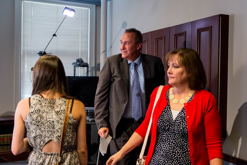 Trent Nelson  |  The Salt Lake Tribune Former Utah Attorney General Mark Shurtleff and his wife, M'Liss Shurtleff, after addressing his arrest on ten felony counts today, in Salt Lake City, Tuesday July 15, 2014.