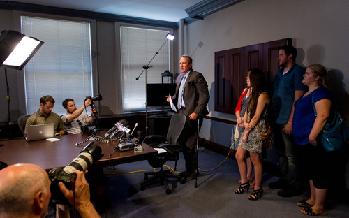 Trent Nelson  |  The Salt Lake Tribune Former Utah Attorney General Mark Shurtleff addresses his arrest on ten felony counts today, during a press conference in Salt Lake City, Tuesday July 15, 2014.