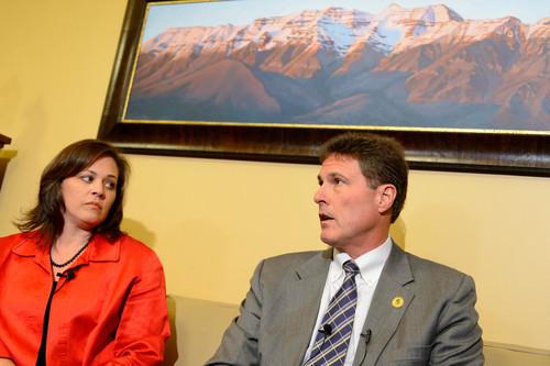 Trent Nelson  |  The Salt Lake Tribune Utah Speaker Becky Lockhart and Rep. James Dunnigan speak about Attorney General John Swallow's resignation, Thursday November 21, 2013 in Salt Lake City.