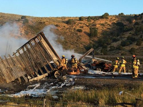 Courtesy of North Summit Fire A semi hauling flammable cleaning chemicals caught fire on I-80 near the Utah-Wyoming border early Wednesday.