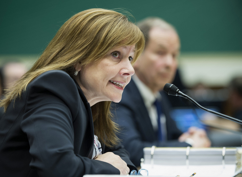 FILE - In this June 18, 2014 file photo, General Motors CEO Mary Barra testifies on Capitol Hill in Washington. Barra makes her second appearance before a Senate subcommittee investigating the company's handling of a defective ignition switch in small cars on Thursday, July 17, 2014. (AP Photo/Cliff Owen, File)