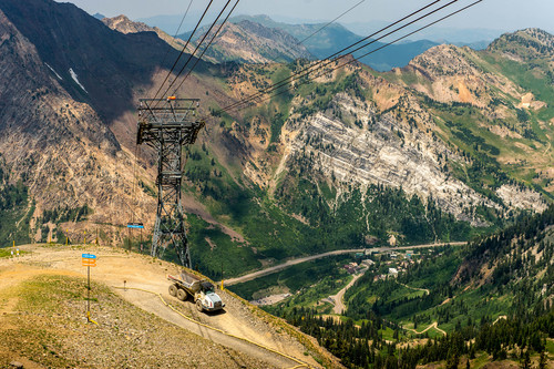 Trent Nelson  |  The Salt Lake Tribune A large truck descends from a construction site at the top of Hidden Peak, Snowbird Ski Resort, Thursday July 17, 2014.