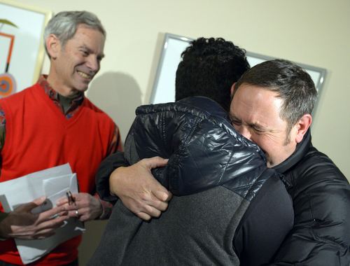 Keith Johnson | Tribune file photo  Brian Morris, right, hugs Noni Blake after they were married by Salt Lake City mayor Ralph Becker outside the Salt Lake County clerks office, Friday, December 20, 2013.