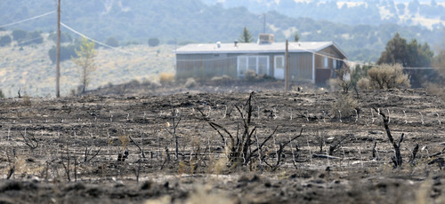 Al Hartmann  |  The Salt Lake Tribune  Burned area east of Stockton seen Thursday July 17. Wild land fire fighters from several fire agencies finished mopping up the hot spots of the 179 acre fire.  The town's water tank was burned in the fire necessitating a no use water rule for part of town.