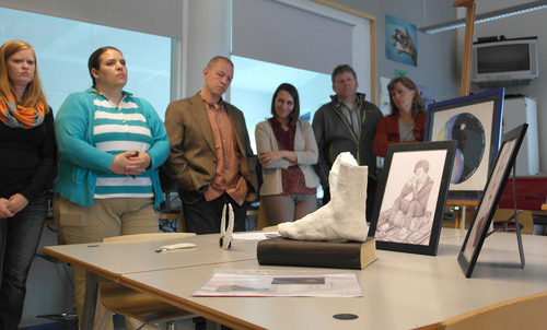Merinda Davis | courtesy photo  Utah teacher Russ McKell, center, in blazer, visits Aleksis Kevi School in Siuntio, Finland, with other Utah educators. The group cently toured Finnish schools and discussed cultural and educational philosophies that help improve schools.