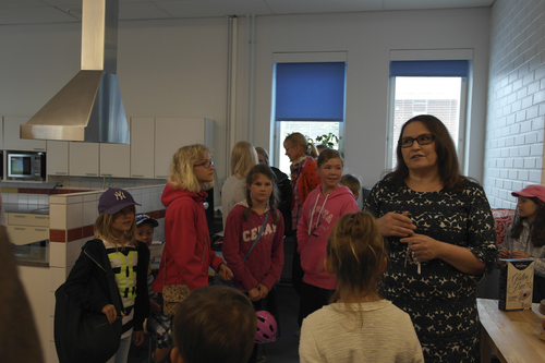 Merinda Davis |  courtesy photo  Principal Tina Blomqvist, with students from Aleksis Kevi School guide Utah teachers around their school. They answered questions and talked about school life in Finland.