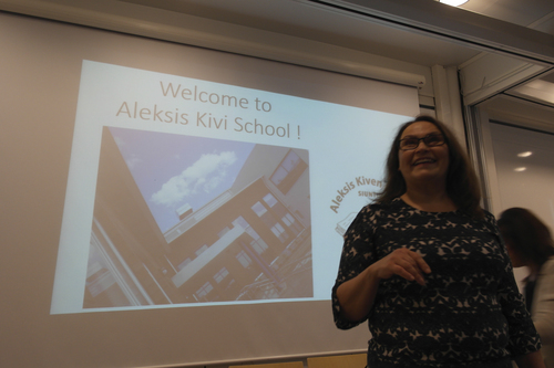 Merinda Davis |  courtesy photo  Principal Tina Blomqvist presents information about Aleksis Kevi School to Utah teachers. She talked about student and community life in Finland. About 30 Utah teachers traveled to Finland, Sweden, Estonia and Denmark to learn about international education and sustainable development education.