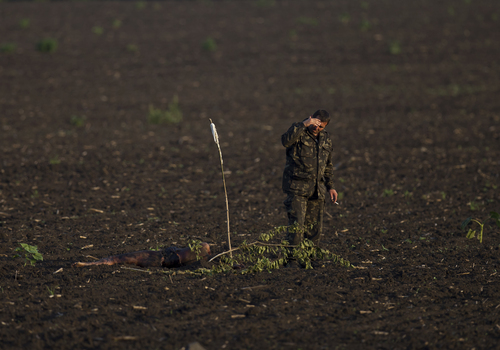 EDS NOTE GRAPHIC CONTENT A pro-Russian militant gestures while looking at the body of a victim isolated in a field away from the main crash site of Malaysia Airlines Flight 17 near the village of Hrabove, eastern Ukraine, Saturday, July 19, 2014. World leaders demanded Friday that pro-Russia rebels who control the eastern Ukraine crash site of Malaysia Airlines Flight 17 give immediate, unfettered access to independent investigators to determine who shot down the plane. (AP Photo/Vadim Ghirda)
