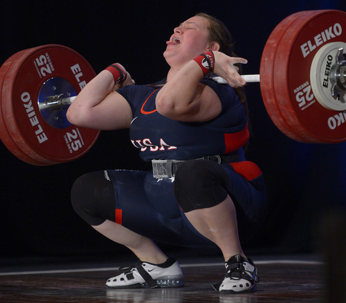 Leah Hogsten  |  The Salt Lake Tribune Marissa Klingseis fails on her third attempt at 130kg in the Clean and Jerk competition at the USA National Weightlifting Competition, July 20, 2014 at the Grand America Hotel. Klingseis won the silver medal with a 125kg.