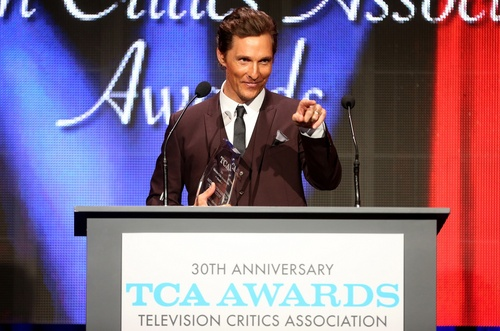 (TCA photo)  Matthew McConaughey accepts the TCA Award for Outstanding Individual Performance in Drama.
