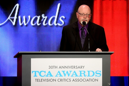 (TCA photo)  Salt Lake Tribune television critic/TCA president Scott D. Pierce welcomes the audience to the 30th annual Television Critics Association Awards.