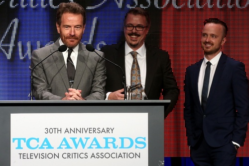 (TCA photo)  Bryan Cranston, Vince Gilligan and Aaron Paul accept the awards as TCA's program of the year.