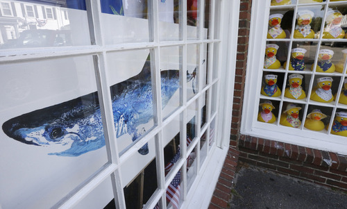 In this July 2, 2014 photo, a painting of a shark is on display in a shop window in Chatham, Mass. With growing sightings of great white sharks off Cape Cod, local entrepreneurs are feeding the frenzy with their shark-themed memorabilia and apparel. (AP Photo/Steven Senne)