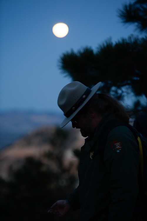 Franciso Kjolseth  |  The Salt Lake Tribune Bryce Canyon Dark Ranger Kevin Poe leads a group of visitors ona  full moon walk to experience the rare treat of  a blood moon during a lunar eclipse. Bryce is famous for its dark skies.