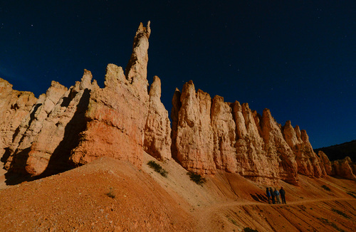 Franciso Kjolseth  |  The Salt Lake Tribune Bryce Canyon Dark Ranger Kevin Poe leads a group of visitors on full moon walk and the rare treat of experiencing a blood moon during a lunar eclipse in a location famed for its dark skies.