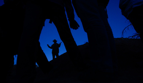 Franciso Kjolseth  |  The Salt Lake Tribune Dark Ranger Kevin Poe projects sounds of different animals known to roam during the night in Bryce Canyon National Park. Poe, who knows how to captivate an audience, led a group of visitors to the park during a full moon walk.