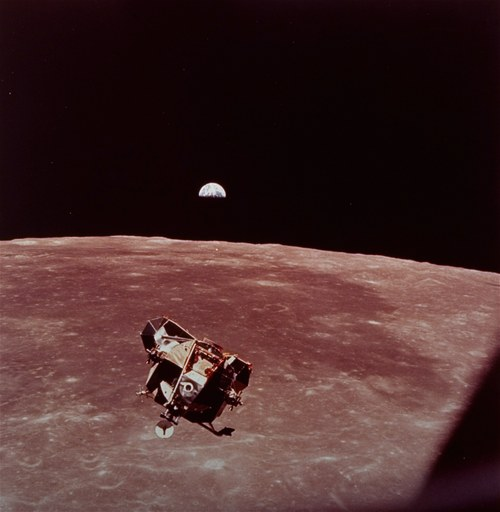 The Apollo 11 lunar module rises from the moon's surface for docking with the command module and the trip back to earth, July 20, 1969.  The earth can be seen rising in the background. (AP Photo/NASA)