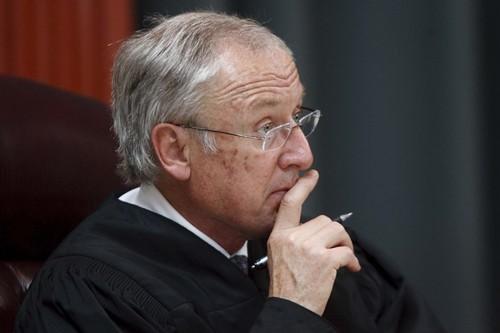 Trent Nelson  |  The Salt Lake Tribune  Utah Supreme Court Justice Ronald E. Nehring hears arguments.