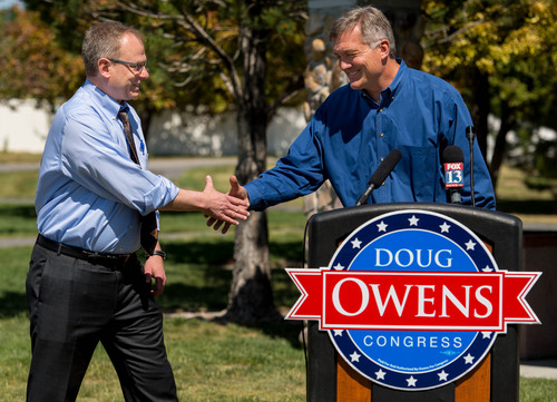 Trent Nelson  |  The Salt Lake Tribune Outgoing Rep. Jim Matheson formally endorses candidate Doug Owens, the Democrat seeking to replace him, at a press event in South Jordan, Tuesday June 3, 2014.