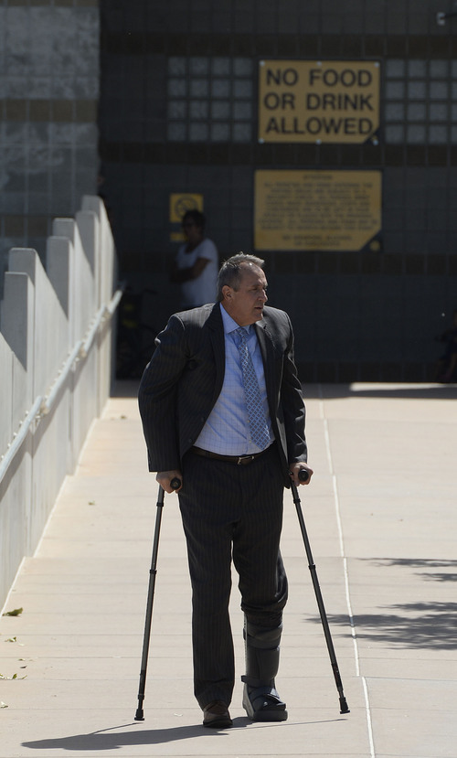 Francisco Kjolseth  |  The Salt Lake Tribune Former Utah Attorney General Mark Shurtleff leaves the Salt Lake County Jail after being arrested earlier in the day on Tuesday, July 15, 2014.