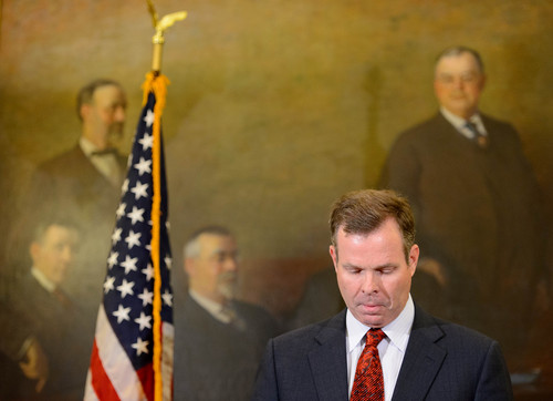 Trent Nelson  |  The Salt Lake Tribune Utah Attorney General John Swallow announces his resignation, Thursday November 21, 2013 in Salt Lake City.
