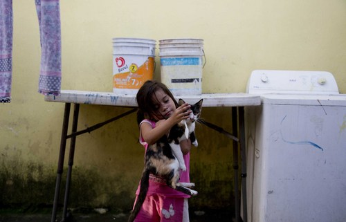 "In this July 10, 2014, photo, a young girl plays with a cat, at the ""Todo por Ellos"" shelter for migrant children, in Tapachula, Mexico. Thousands of unaccompanied minors, the vast majority from Guatemala, El Salvador and Honduras, have been apprehended at the U.S. border from last October to June. Many who travelled to the United States recently said they did so after hearing they would be allowed to stay. (AP Photo/Eduardo Verdugo)"
