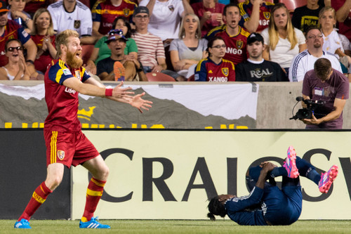 Trent Nelson  |  The Salt Lake Tribune Real Salt Lake's Nat Borchers (6) protests a penalty in the box, on Vancouver's Darren Mattocks (11), as Real Salt Lake hosts Vancouver Whitecaps FC at Rio Tinto Stadium in Sandy, Saturday July 19, 2014.