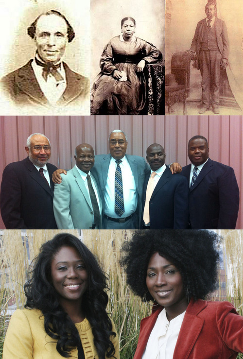 """Top Row, left to right:  1. Elijah Abel, a free black man, was the first black baptized into The Church of Jesus Christ of Latter-day Saints. Photo courtesy of Genesis.  2. Jane Elizabeth Manning [James] was a slave in Joseph Smithís household who joined the church. Photo courtesy of Genesis.  3. Green Flake, the slave of James Madison Flake, a convert to the LDS Church, was baptized at the age of 15. Green remained a slave but was a faithful member of the church throughout his life. Photo courtesy of Genesis.  Middle: Genesis Group leaders at the anniversary gathering left to right: Darius A. Gray - Eugene Orr (counselors to Ruffin Bridgeforth in the original Genesis Branch presidency) Donald L. Harwell (current Genesis president and past first counselor to Darius Gray and past second counselor to Ruffin Bridgeforth), Orin Howell (current first counselor to Don Harwell) and Eddie Gist (current second counselor to Don Harwell). Photo by Jerri Harwell.  Bottom: Tamu Smith (right) and Zandra Vranes (left) are """"Sistas in Zion"""" and have written a new book, Diary of Two Mad Black Mormons."""