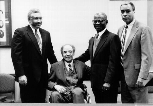 Genesis Group story: l-r Darius Gray, Ruffin Bridgeforth, Elder Helvecio Martins, Don Harwell.