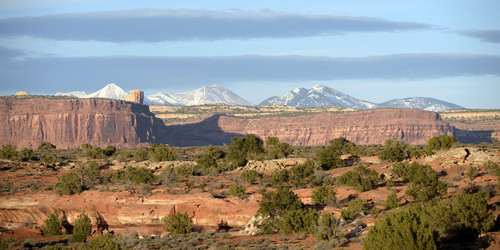 Al Hartmann     The Salt Lake Tribune  Canyon Rims area just north of U-111 is an area up for consideration for inclusion into an expanded Canyonlands National Park. La Sal Mountain range lies far to the east.