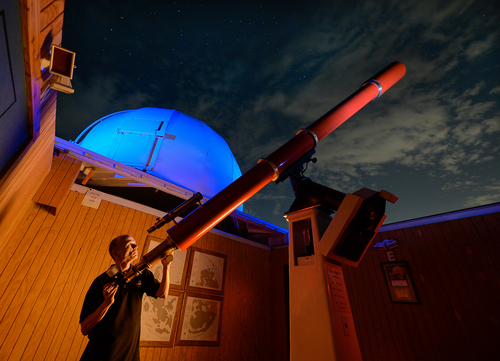 Francisco Kjolseth  |  The Salt Lake Tribune Patrick Wiggins is being awarded the prestigious NASA Distinguished Public Service Medal, awarded to nongovernmental individuals who have done big work to further NASA's mission and educate people about the cosmos. Wiggins, pictured with one of the telescopes he built at the Stansbury Park Observatory Complex, spends much of his time observing the night sky and passing on his passion for the cosmos.