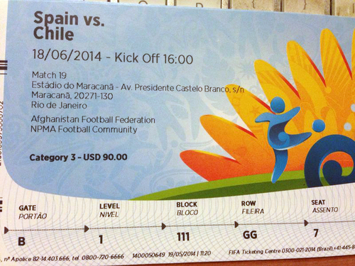 This June 4, 2014 photo shows a $90 U.S. dollar FIFA ticket for the Spain vs. Chile World Cup game, bought by a fan on Stubhub.com, a website that connects buyers and sellers, for $775 U.S. dollars, in San Juan, Puerto Rico. Thieves hacked into the ticket-reselling site and fraudulently bought tickets using others' accounts. (AP Photo)