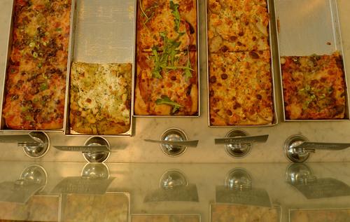 Leah Hogsten  |  The Salt Lake Tribune Eva's Bakery Boulangerie's pizza slices, July 16, 2014.