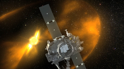 An artist's rendering of the STEREO spacecraft orbiting the Sun. There are two STEREO crafts, STEREO-A and STEREO-B, one of which orbits ahead of Earth and one that trails it. (NASA photo)