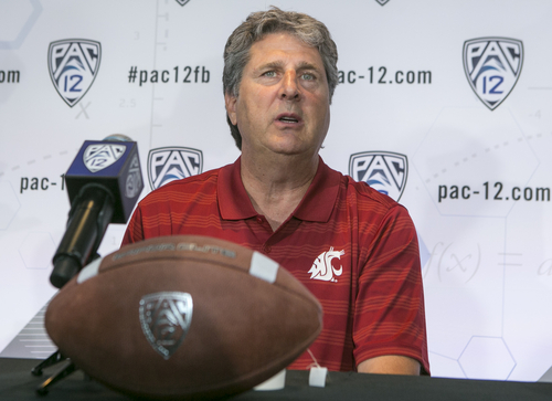 Washington State Head Coach Mike Leach takes questions at the 2014 Pac-12 NCAA college football media days at Paramount Studios in Los Angeles Wednesday, July 23, 2014. (AP Photo)