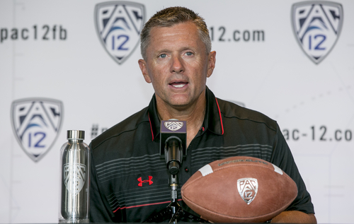 Utah Head Coach Kyle Whittingham takes questions at the 2014 Pac-12 NCAA college football media days at Paramount Studios in Los Angeles Wednesday, July 23, 2014. (AP Photo)