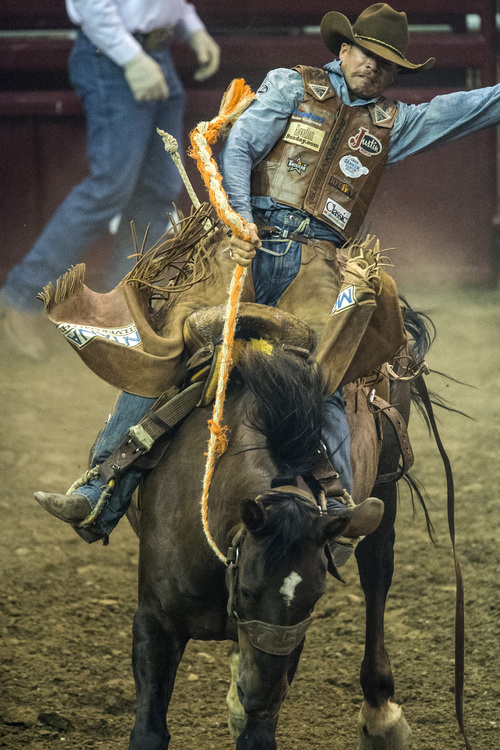 Chris Detrick  |  The Salt Lake Tribune Cody DeMoss, of Heflin, La., competes in saddle bronc riding during the Days of '47 Rodeo at EnergySolutions Arena Tuesday July 22, 2014.