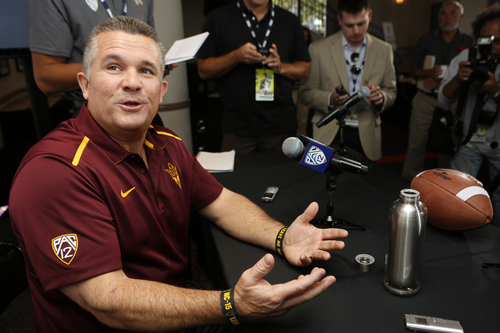 Arizona State head coach Todd Graham  takes questions at the 2014 Pac-12 NCAA college football media days at Paramount Studios in Los Angeles Thursday, July 24, 2014. (AP Photo)