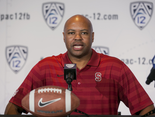 Stanford head coach David Shaw takes questions at the 2014 Pac-12 NCAA college football media days at Paramount Studios in Los Angeles Thursday, July 24, 2014. (AP Photo)
