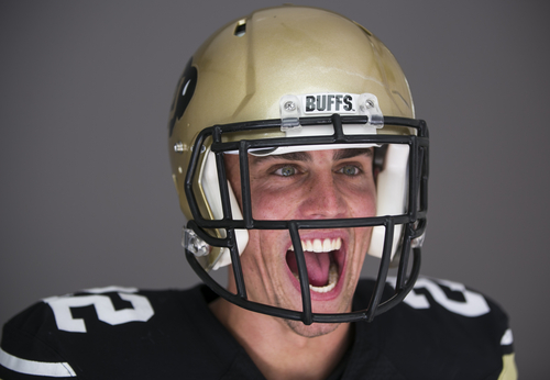 Colorado wide receiver Nelson Spruce poses for a photo at the 2014 Pac-12 NCAA college football media days at Paramount Studios in Los Angeles Thursday, July 24, 2014. (AP Photo)